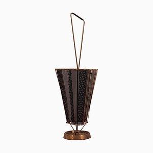 Vintage Italian Brass Profile and Black Metal Net Umbrella Stand, 1950s