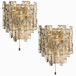 Ice Glass Wall Sconces by J.T. Kalmar, Austria, 1960s, Set of 2