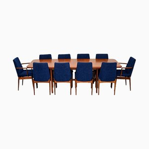 Teak Dining Table & Chairs Set by Robert Heritage for Archie Shine, 1960s, Set of 11