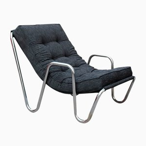 Minimalist Chrome Plated Tubular Metal and Black Fabric Lounge Chair, 1970s