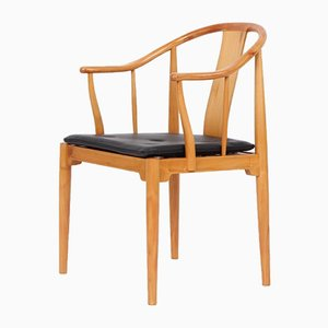 Solid Cherrywood and Black Leather Model 4283 China Chair by Hans J. Wegner for Fritz Hansen, 1980s