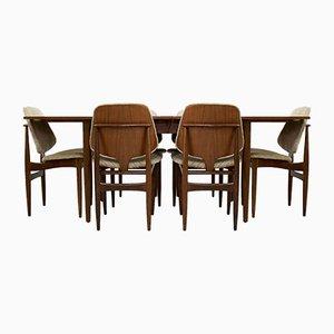 Ausziehbarer Mid-Century Esstisch & Stühle von Elliots of Newbury, 1960er, Set of 7