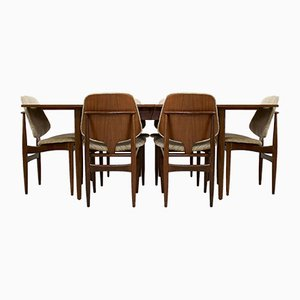 Mid-Century Extendable Dining Table & Chairs Set from Elliots of Newbury, 1960s, Set of 7