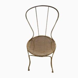 Antike Esszimmerstühle aus vergoldetem Metall, 4er Set