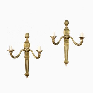 French Golden Bronze and Brass Sconces, 1960s, Set of 2