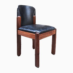 Italienische Modell 330 Esszimmerstühle aus Buche & schwarzem Leder von Silvio Coppola für Bernini, 1960er, 6er Set