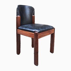 Sedie da pranzo modello 330 in faggio e pelle nera di Silvio Coppola per Bernini, Italia, anni '60, set di 6