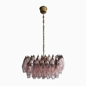 Pink Murano Glass Poliedri Ceiling Lamp from Carlo Scarpa, 1978