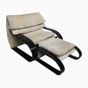 Vintage Sessel und Hocker, 1980er