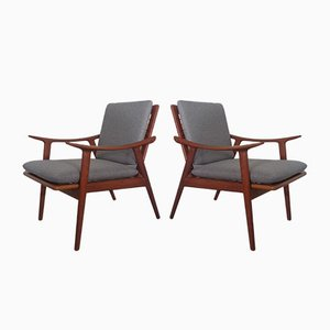 Teak Model 563 Armchairs by Fredrik A. Kayser for Vatne Møbler, 1950s, Set of 2