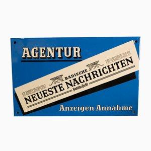Beveled Enamel Badische Neueste Nachrichten Advertising Sign from C. Robert Dold Offenburg, 1950s