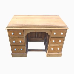 Antique Rustic Solid Pine Pedestal Desk, 1920s