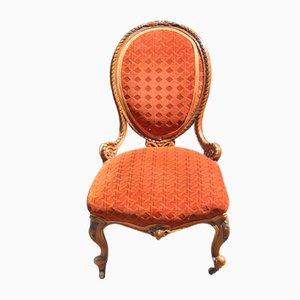 Nursing Sessel aus Nussholz in strahlender Farbe, 1900er