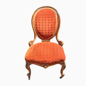 Walnut Nursing Armchair in Vibrant Color, 1900s