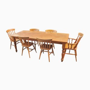 Country PIne Dining Table, Chairs & Carver Set, 1960s, Set of 7
