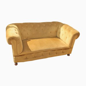 Upholstered Drop-End 3-Seat Chesterfield Sofa, 1920s