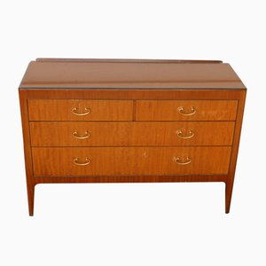 Vintage Teak Cabinet with Drawers and Glass Top, 1960s