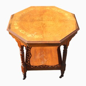 Mahogany 3 Penny Top Side Table with Inlay, 1910s