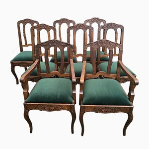 Vintage Louis XV Style Oak Dining Chairs, 1940s, Set of 8