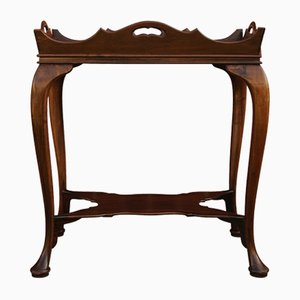 Queen Anne Mahogany 2-Tier Butlers Table with Cabriole Legs