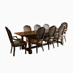 Antique Oak Refectory Table & Cane Back Dining Chairs Set, Set of 9