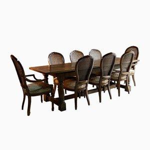 Set de Chaises de Salle à Manger Antique en Chêne et Table de Réfectoire en Chêne, Set de 9
