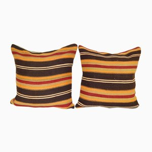 Square Turkish Kilim Cushion Covers, Set of 2