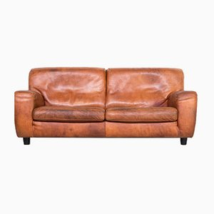 Cognac Leather Fat Boy Sofa from Molinari, 1970s
