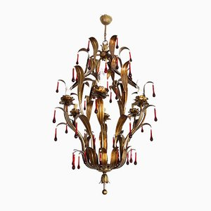 Vintage Italian Florentine Chandelier with Red Murano Glass Drops from Banci, 1950s
