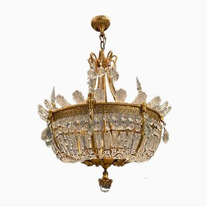 Large Art Deco Murano Glass Chandelier, 1950s