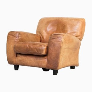 Handmade Thick Cognac Leather Lounge Chair from Molinari, 1970s