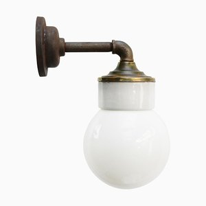 Vintage Industrial White Porcelain, Brass, and Opaline Glass Sconce
