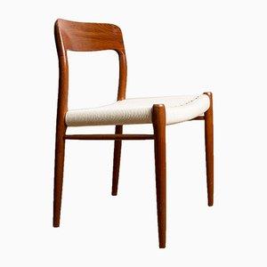 Dänische Modell No. 75 Beistellstühle aus Teak und Seil von Niels Otto Møller für JL Møllers, 1960er, 6er Set
