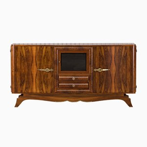 Vintage French Art Deco Burl Walnut Credenza Buffet