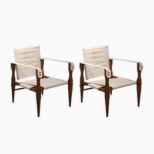 Leinen und Holz Safari Stühle, 1960er, 2er Set