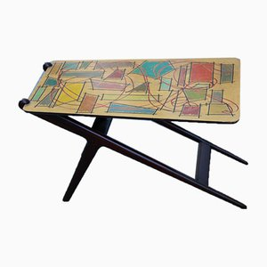 Italian Mahogany Coffee Table and Abstract Multicolor Decor Top, 1950s