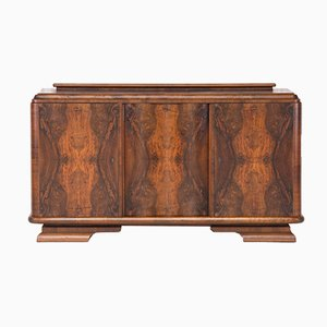 French Art Deco Classic Burr Walnut Sideboard or Buffet, 1930s