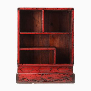 Antique Red Lacquered Display Shelf