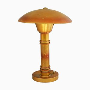 Französische Art Deco Aluminium UFO Tischlampe in Pilz-Optik, 1930er