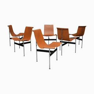 T-Chairs in Tan Leather by Ross Littell for William Katavolos, USA, 1952, Set of 6