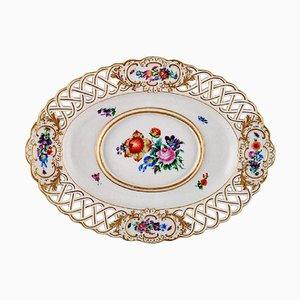 Soucoupe Antique Meissen en Porcelaine Peinte à la Main avec Décoration Florale et Dorée