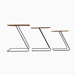 Mesas nido modernistas vintage de ratán. Juego de 3