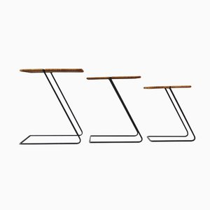 Tables Gigognes Vintage Modernistes en Rotin, Set de 3