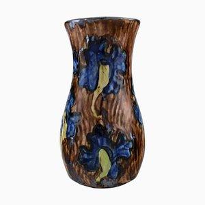 Große Jugendstil Vase aus glasierter Keramik von Møller & Bøgely, Dänemark