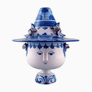 Large Figure with Lid in the Form of a Hat by Bjørn Wiinblad, 1981