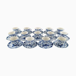 Royal Copenhagen Blue Fluted Full Lace Coffee Cups with Saucers #1/1035, 1960s, Set of 28