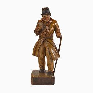 Figurine Antique Sculptée en Bois d'un Gentilhomme Bien Habillé