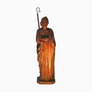 Antike Figur eines Heiligen Johannes aus geschnitztem Holz