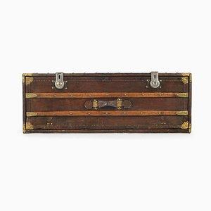 Baúl francés vintage de madera y cuero