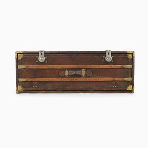 Vintage French Wood and Leather Trunk